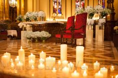 Warm up the atmosphere at the altar with hundreds of candles!  Wedding by Monte-Carlo Weddings