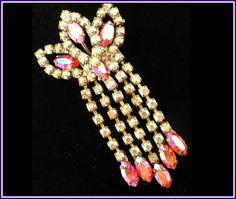 Bodacious! Vintage Large Czech Aurora Borealis Crystal Rhinestone Pendant  by MarlosMarvelousFinds, $27.00