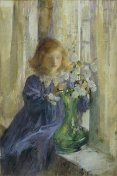 Sir James Jebusa Shannon (1862 - 1923)   - The Green Vase - Date unknown - Amgueddfa Cymru (National Museum of Wales) - Cardiff