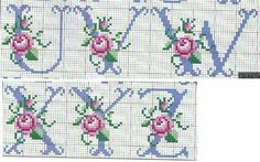 Rose alphabet 3 of 3 Cross Stitch Thread, Cross Stitch Letters, Cross Stitch Books, Cross Stitch Borders, Cross Stitch Rose, Cross Stitch Baby, Counted Cross Stitch Patterns, Cross Stitch Designs, Cross Stitching