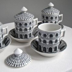 For a complimentary 60 's ....  [Piero Fornasetti, coffee mugs Architecture series]