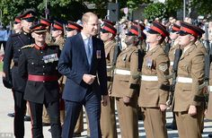 8/23/16*Standing to attention: Prince William is visiting Dusseldorf to mark the 70th anniversary of the formation of the German state of North Rhine-Westphalia