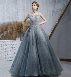 Amazing tulle sequins long ball gown dress formal A Line Prom Dresses, Ball Gown Dresses, Evening Dresses, Long Dresses, Formal Gowns, Dress Formal, Blue Ball Gowns, Dress Silhouette, Dress Making