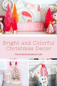 Bright and Colorful Christmas Decorations - Holiday Home Tour - Christmas On A Budget, All Things Christmas, Christmas Holidays, Christmas Items, Christmas Recipes, Merry Christmas, Colorful Christmas Decorations, Christmas Activities, Family Activities