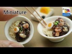 미니어쳐 짜장면 만들기 폴리머클레이 Polymerclay miniature Seafood jajangmyeon food ミニチュア食品 - YouTube