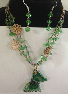 "Butterfly Necklace  Murano Glass Blue Green 3 Strand beaded 16"" + Earrings #Handmade"
