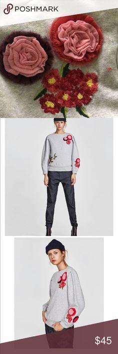 Nwt embroidered sweatshirt by zara Round neckline  Full sleeves Raised embroidery  Cute !!! Zara Tops Sweatshirts & Hoodies