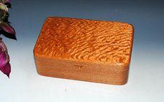 Handmade Wooden Stash Box Jewelry Box or Desk Box - Lacewood on Mahogany - USA Made by BurlWoodBox - Wooden Stash Box Wooden Jewelry Box by BurlWoodBox