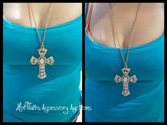 Haute & Sole Pink Stone Cross Necklace in gold tone Go to:  facebook.com/hotflairs  etsy.com/hotflairs