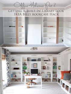 Ikea billy bookcase hack office makeover part 2 billy hack built in billy bookcases ikea billy Billy Bookcase Office, Ikea Billy Bookcase Hack, Built In Bookcase, Billy Bookcases, Building Bookshelves, Bookcase Tv Stand, Ikea Shelf Hack, Bookshelves Ikea, Diy Built In Shelves