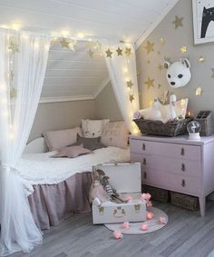 47 Modern Kids Room Design Ideas Thah Built In Beds - Each and every room of your home is undoubtedly very important and needs special care and attention in its decoration. But when it comes to your kids . Baby Bedroom, Girls Bedroom, Bedroom Ideas, Bedroom Decor Kids, Slanted Ceiling Bedroom, Kids Room Organization, Playroom Ideas, Kids Room Design, Little Girl Rooms