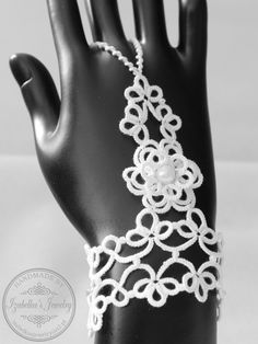 Lace tatted slave bracelet with flower by IzabelkasJewelry on Etsy