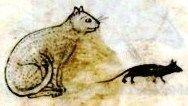 Cat and rat from medieval manuscript.