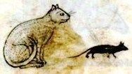 Cat and rat from medieval manuscript.