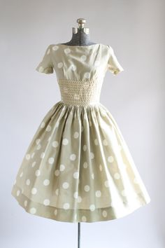 Vintage 1950s Dress / 50s Cotton Dress / Mindy Ross Tan and White Polka Dot Dress w/ Ric Rac Trim XS