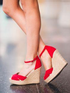 Red platform wedge espadrilles for summer