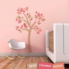 Tree with Bird Nest Fabric Wall Sticker Decal - Removable and Reusable