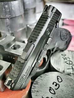Smith & Wesson M&P 9 Shield w/Full Top Serrations and Side Cocking Serrations milled by ATEi