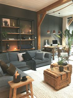Masculine Industrial Living Room With A Wall-Mounted Shelving Unit - Living Room Designs Home Living Room, Living Room Designs, Living Room Decor, Home Office Design, Home Interior Design, Interior Styling, Halls, Elegant Living Room, Home And Deco