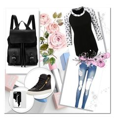 """""""casual"""" by the-blueglasses ❤ liked on Polyvore featuring Aspinal of London, Giuseppe Zanotti, LE3NO, Sephora Collection and Karlsson"""