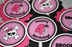 Pink Skull Princess Cupcake Toppers  Girl Or by PinkInkCreation, $10.00