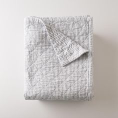 Inspired by classic utility fabric, our blue oxford Diamond Ticking Quilt is made from yarn-dyed cotton for vibrant color and an heirloom look that lasts, wash Striped Bedding, Ticking Stripe, Linen Bedding, Bed Linens, Bedding Sets, Grey Bedding, Linen Fabric, King Quilt Bedding, Bedding Storage