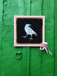 Hand Painted Crow Portrait on Burlap with Red Checkered Ribbon Accent  on Etsy, $11.95