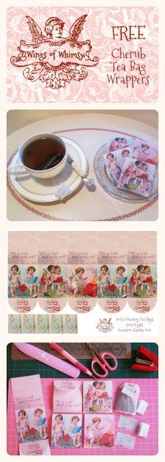 Wings of Whimsy: Vintage Cherub Tea Bag Wrappers - free for personal use #vintage #ephemera #valentine #printable #freebie
