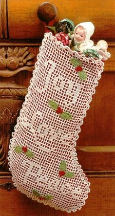 Pretty Filet Crochet Stocking.