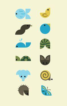 Quarter Circle Animals by students Megan Kelly