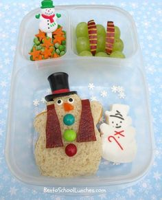 Bento School Lunches: Bento Lunch: Frosty The Snowman bento and Holiday Blog Hop