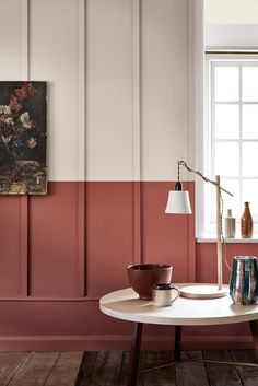 Awesome Useful Tips: Modern Wainscoting Stairs wainscoting full wall decor.Wainscoting Corners Home. Red Walls, Colorful Interiors, Interior, Interior Inspiration, Rust Color Paint, Half Painted Walls, Interior Walls, Tuscan Design, Wall Design