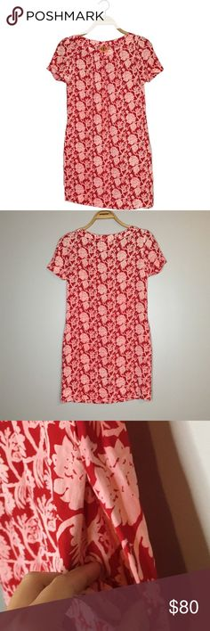 "Tory Burch Red & Pink Floral Short Sleeve Dress Like new Tory Burch red shirt sleeve dress with pink floral print and pockets on sides! Size 4. Armpit to armpit: 17"". Length: 32"". 100% silk Tory Burch Dresses"