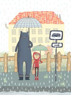 Cute Bear and Little Red Jacketed Kid - Coline Citron Illustration