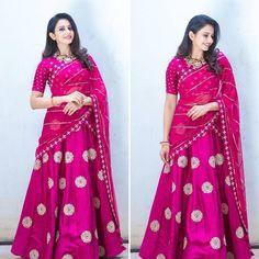 Mahi Fashion ~ Products ~ Rakul Preet looks beautiful in Mishru Pink Lehenga Saree at Rarandoi Veduka Chudam ~ Shopify Half Saree Lehenga, Lehenga Style, Lehnga Dress, Anarkali, Lehenga Suit, Pink Lehenga, Net Saree, Lehenga Dupatta, Sharara