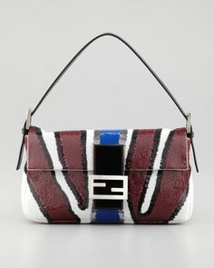 Zebra-Stripe Sequined Baguette Bag, Wine by Fendi at Neiman Marcus.