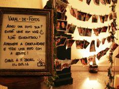 varal de fotos na decoração do casamento