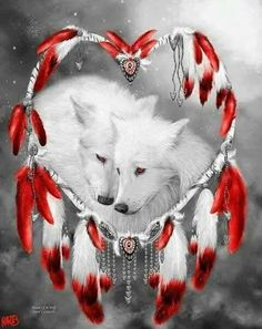 Colorful Wolf Dream Catcher