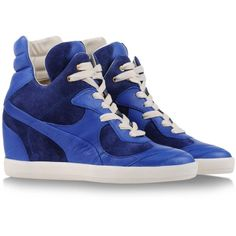 Alexander Mcqueen Puma High-Tops & Trainers ($83) ❤ liked on Polyvore featuring shoes, sneakers, sapatos, blue, hi tops, high top shoes, high top trainers, high top sneakers and blue shoes