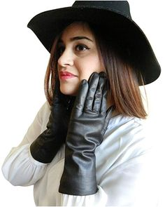 Fownes Women's Cashmere Lined Smart Black Lambskin Leather Gloves Black Leather Gloves, Lambskin Leather, Knit Mittens, Knitted Gloves, Best Valentine Gift, Cold Weather Gloves, Large Scarf, Dress Gloves, Pashmina Scarf