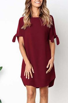 Women Red Slit Sleeve Round Neck Casual Shift Dress - S Casual Dresses, Short Dresses, Mini Dresses, Prom Dresses, Black Tie Dye, Looks Black, Types Of Fashion Styles, Dress Brands, Outfits