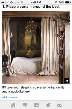Curtain around bed