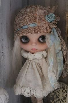 Blythe doll with a girly look.