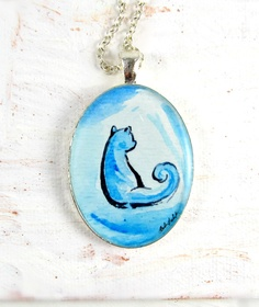 Cat in Blue -- Ink and Watercolor Illustration Pendant by Sarah-Lambert Cook http://www.sarahlambertcook.com/collections/minima-series/products/cat-in-blue-ink-and-watercolor-illustration-pendant-minima-series