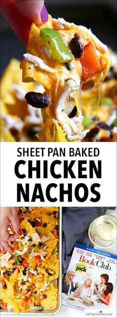 I love this easy Baked Chicken Nachos Recipe! These sheet pan nachos with chicken loaded with your favorite toppings make the perfect quick dinner or party snack! Host a girls' night in party with nachos, wine, chocolate and the hilarious film Book Club n Baked Chicken Nachos Recipe, Chicken Snacks, Easy Baked Chicken, Chicken Recipes, Recipe Chicken, Appetizer Recipes, Snack Recipes, Dinner Recipes, Party Recipes