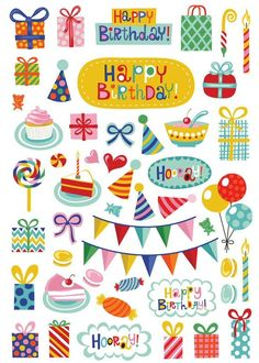 Happy Birthday stickers by Helen Dardik Happy Birthday Tag, Birthday Icon, Happy Birthday Printable, Happy Birthday Wallpaper, Birthday Tags, Birthday Clipart, Love Stickers, Printable Stickers, Planner Stickers