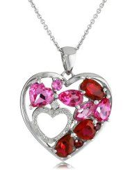 """Sterling Silver Created Ruby and Created Pink Sapphire Double Heart Diamond Pendant Necklace, 18"""" $61.00"""