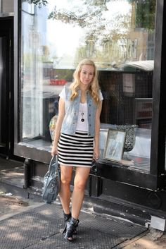 jean vest striped skirt