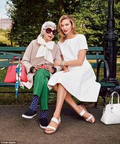 Fashion icon: Iris Apfel, 93, stars in Kate Spade's Spring 2015 campaign alongside 22-year-old Victoria's Secret model Karlie Kloss