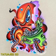 Delightful New School Octopus Tattoo Design - Best Tattoos - Tattoo MAG Octopus Tattoo Design, Tattoo Designs, Octopus Tattoos, Tattoo Ideas, Bild Tattoos, Body Art Tattoos, Small Tattoos, Gun Tattoos, Graffiti Lettering